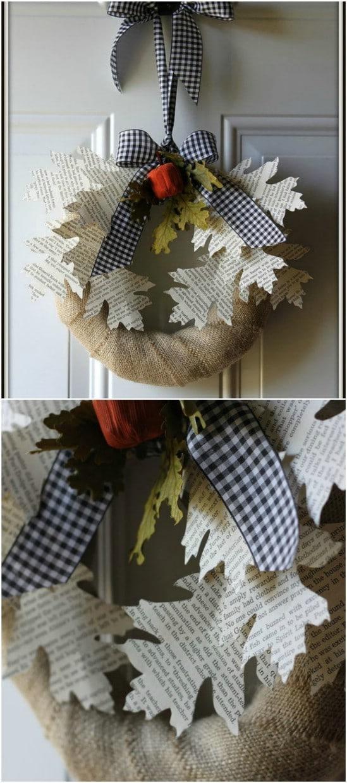 Book Page Leaf Wreath