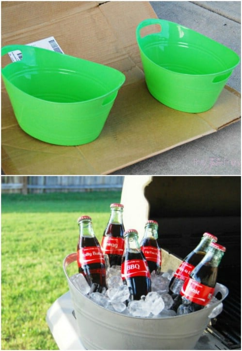 Use spray paint to make it look like your plastic bins are made out of metal.