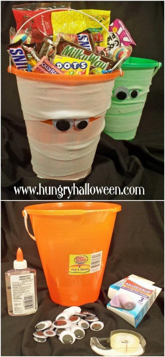 Scary DIY Mummy Candy Buckets