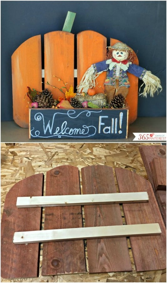 Upcycled Pallet Pumpkin Stand - 25 Fantastic Reclaimed Wood Halloween Decorations For Your Home And Garden