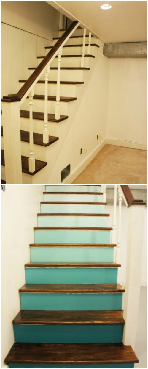 Here is how to paint your steps with ombre teal colors.