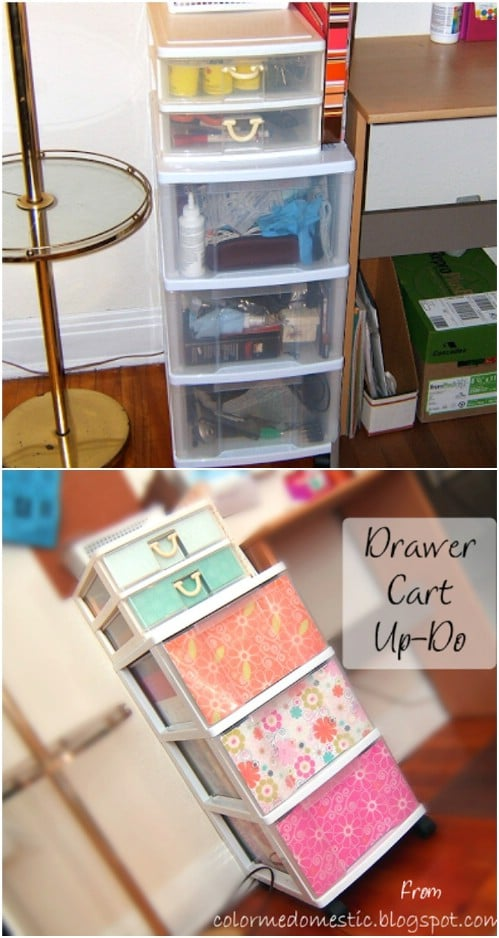 Use scrapbook paper to turn your boring plastic bins into bright, vibrant, beautiful storage solutions.