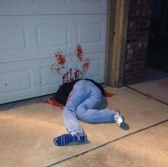 Gruesome Garage Door Victim
