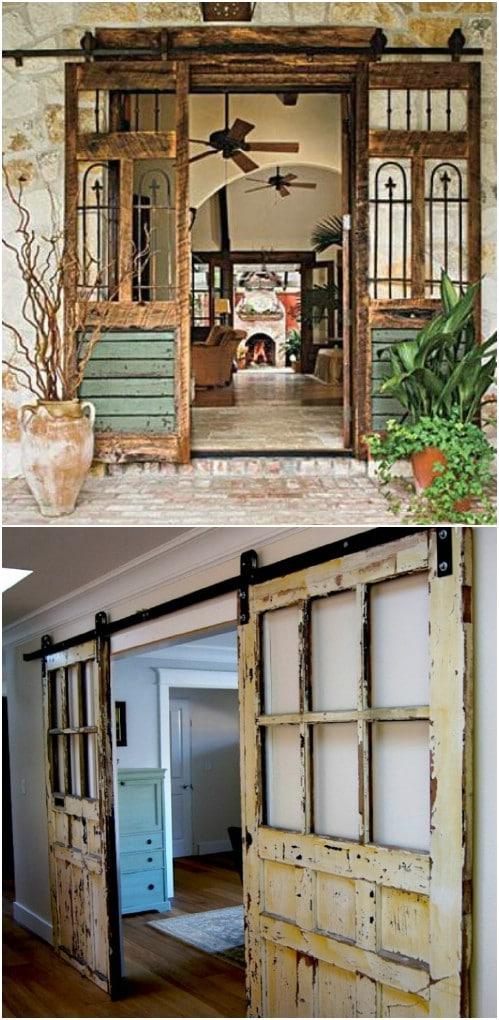 Distressed Wood Double Barn Door