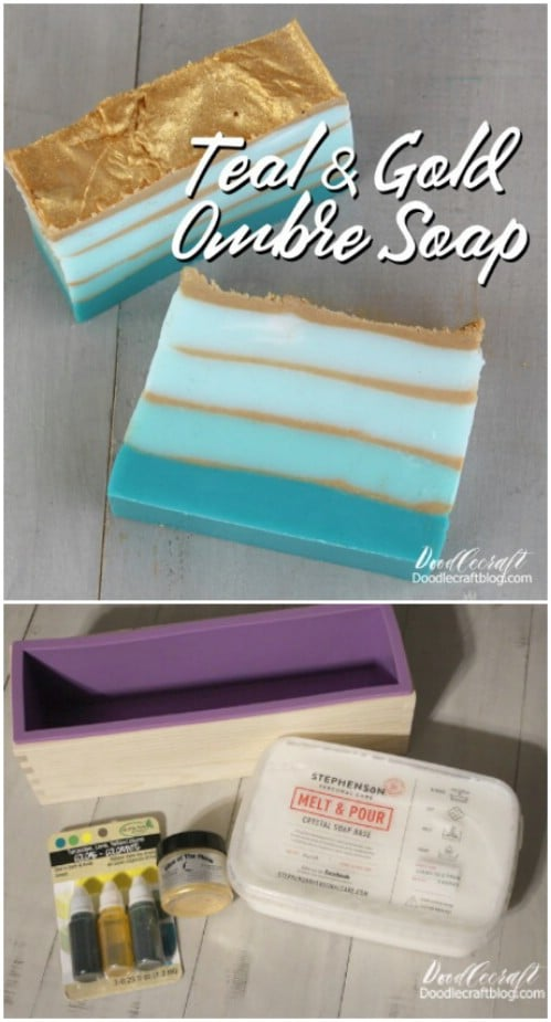 Make beautiful teal ombre soaps.