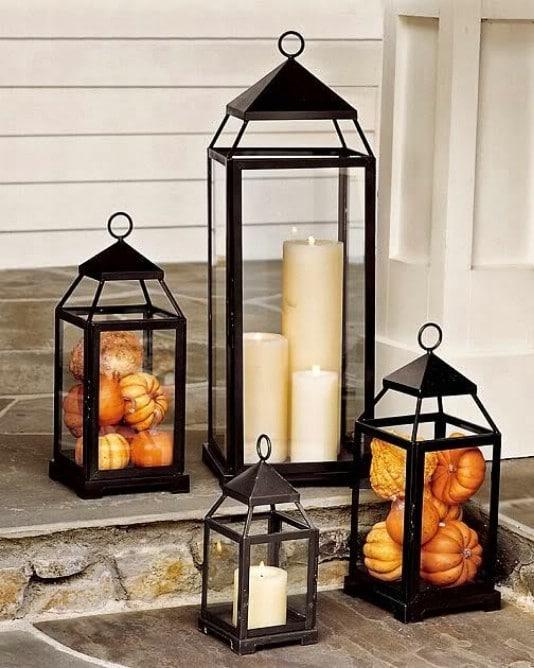 Pumpkin Filled Outdoor Lanterns