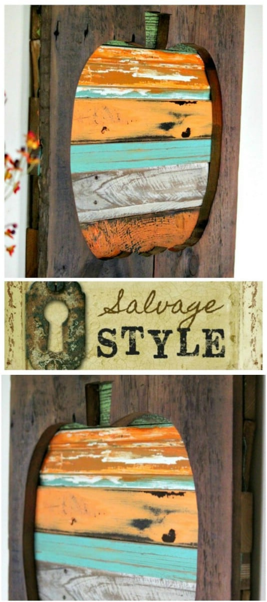 3-D Reclaimed Wood Pumpkin Hanging - 25 Fantastic Reclaimed Wood Halloween Decorations For Your Home And Garden