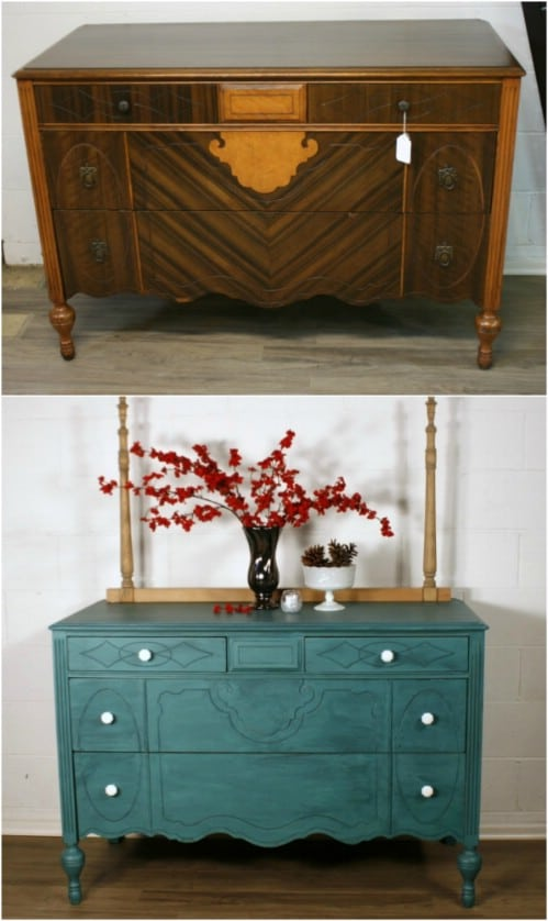 Here is how to do a color wash on a dresser to achieve a lovely teal hue.