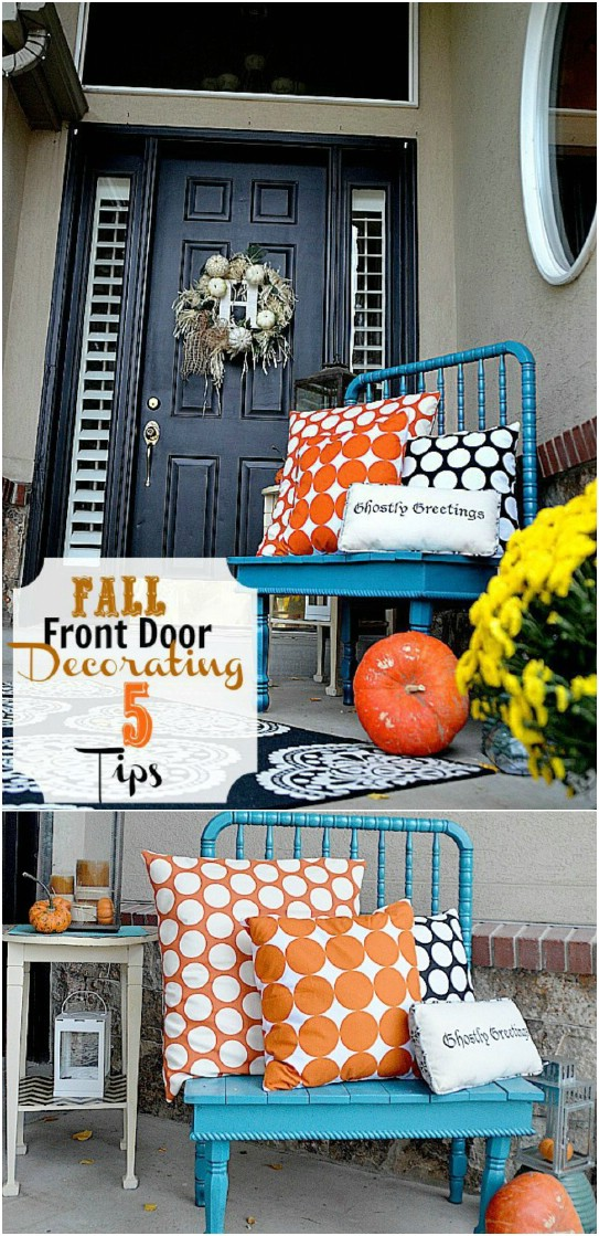 Pretty Fall Polka Dot Themed Front Porch