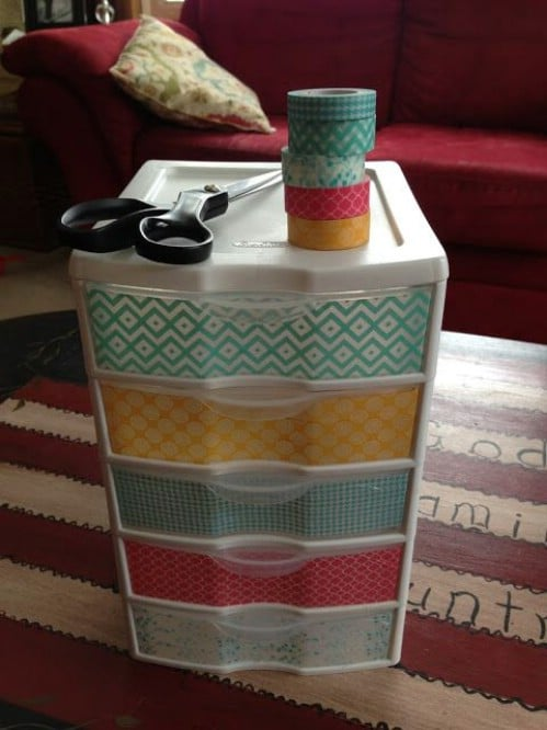 Decorate your bins with washi tape.