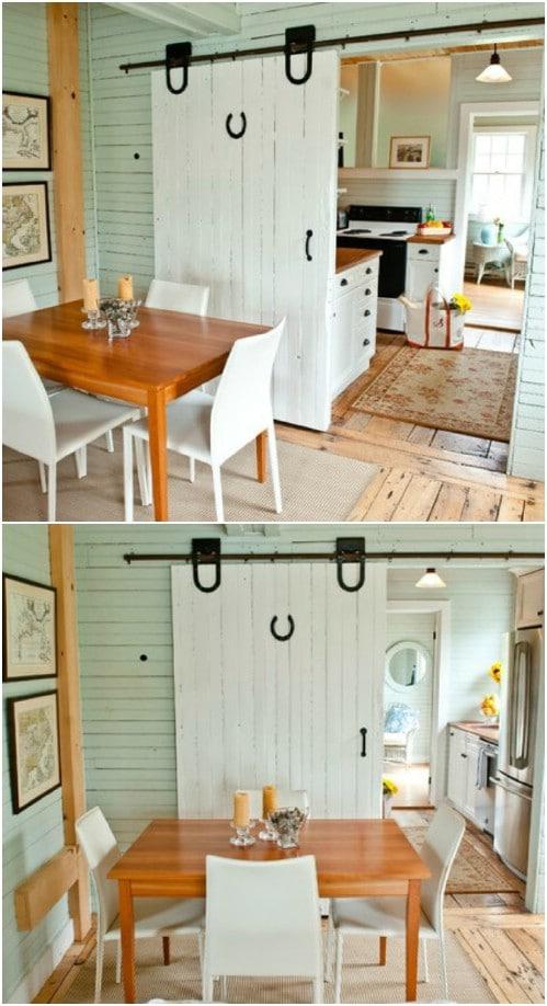 Cute Kitchen Barn Door with Horseshoe
