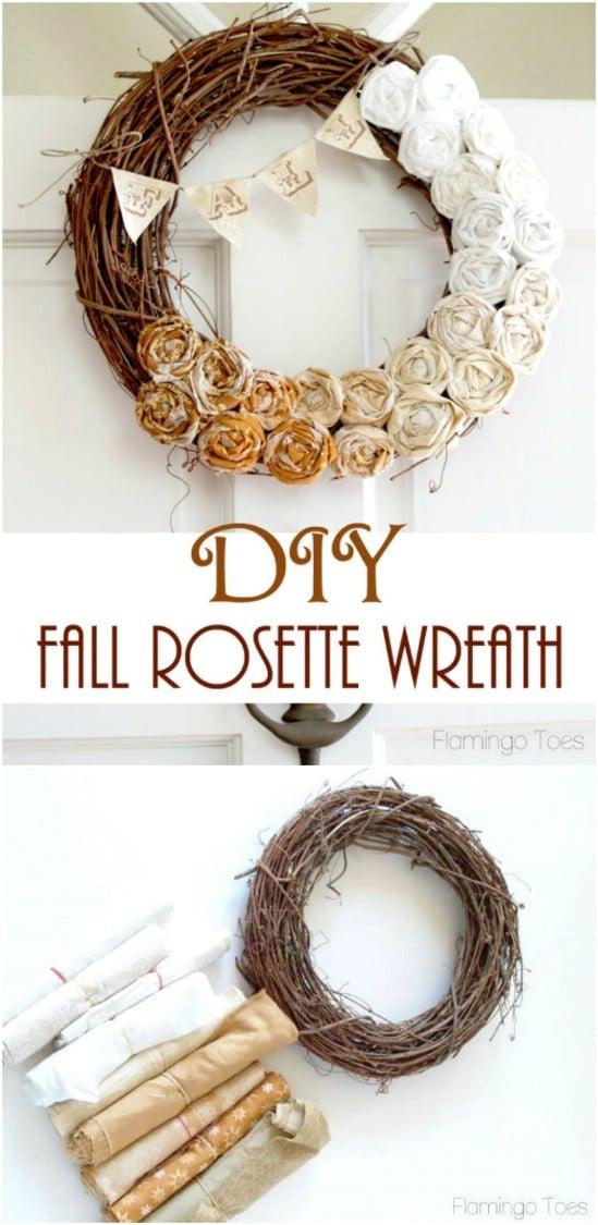 DIY Ombre Rosette Grapevine Wreath