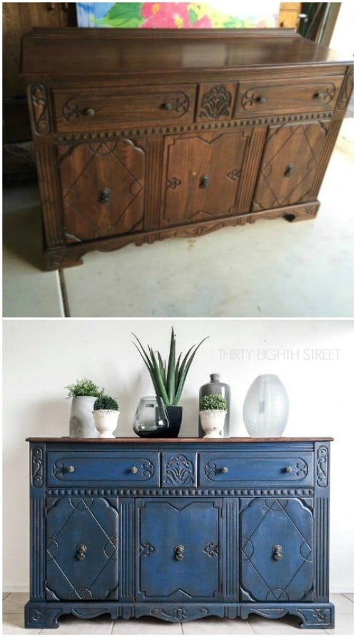 Beautiful blue painted buffet.