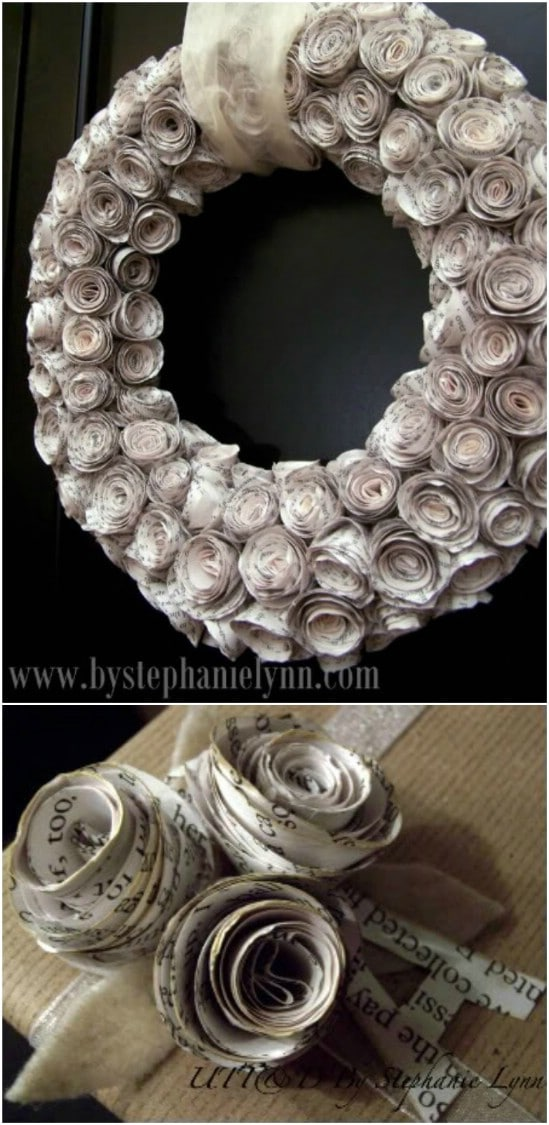 Rolled Page Rosette Fall Wreath