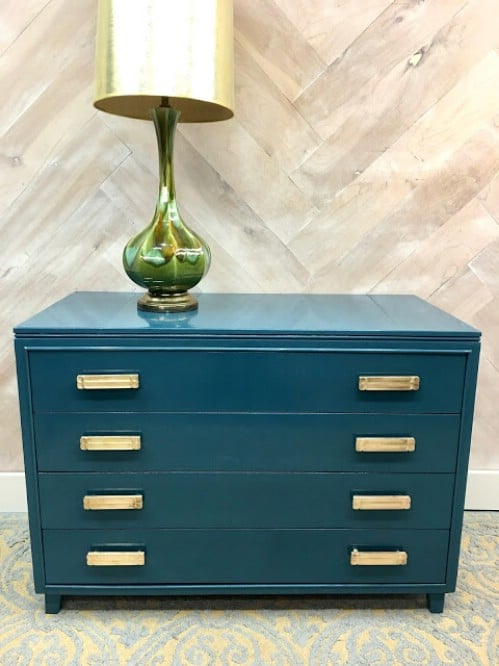 A simple teal dresser paint job.