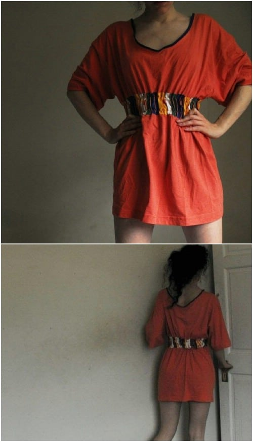 Make a cute, simple dress out of a long tee.