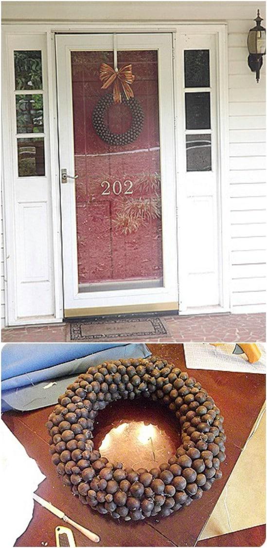 DIY Fall Walnut Wreath