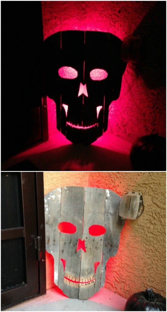 Spooky Glowing Skull - 25 Fantastic Reclaimed Wood Halloween Decorations For Your Home And Garden