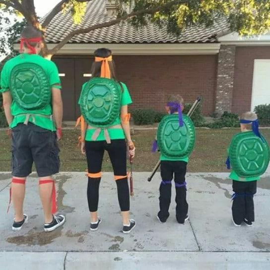 Simple DIY Ninja Turtle Family Costumes