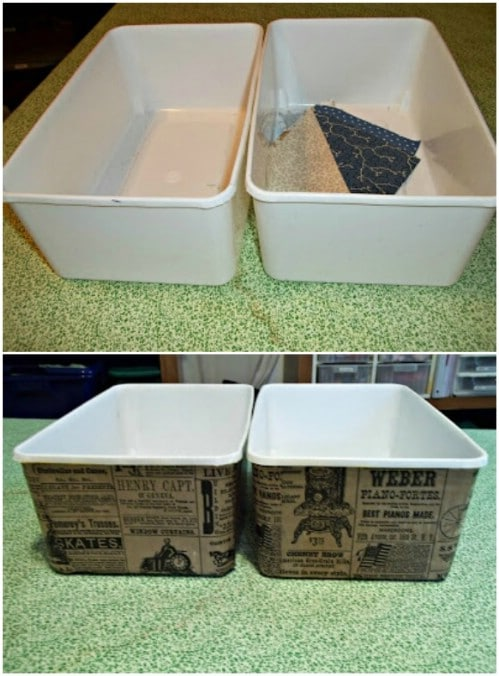 Decoupage your bins using an old paper bag.