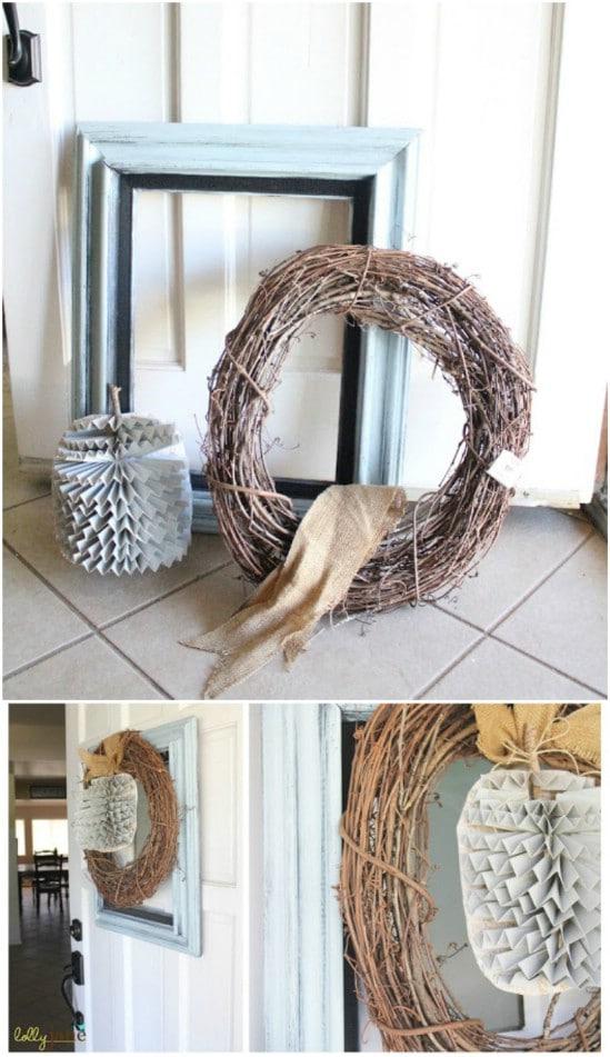 Framed Pumpkin Wreath