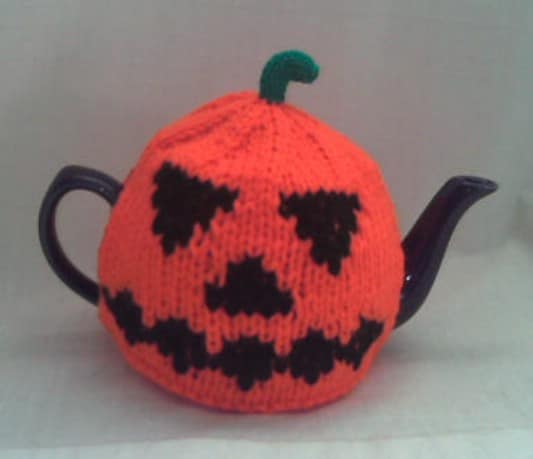 Knit Jack-O-Lantern Tea Cozy
