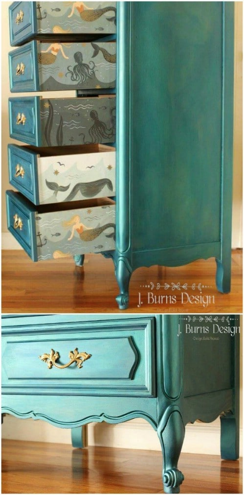 Check out this imaginative sparkling mermaid lingerie chest.