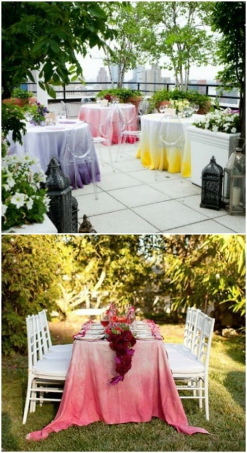 Dip-dying looks great on tablecloths too.
