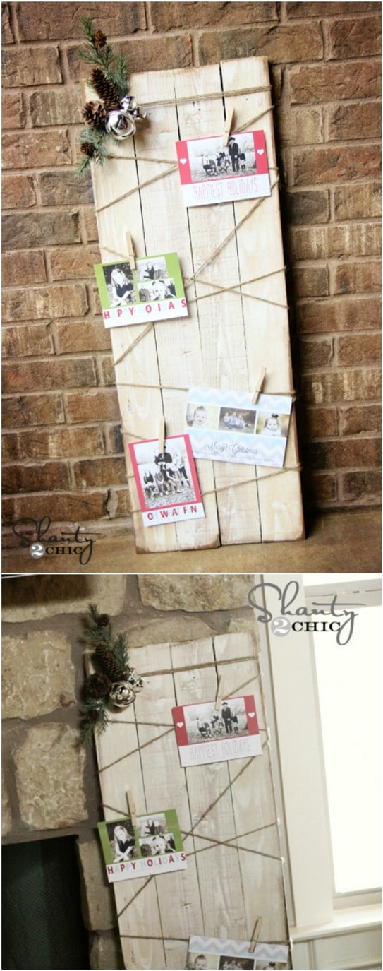 Rustic DIY Christmas Card Display