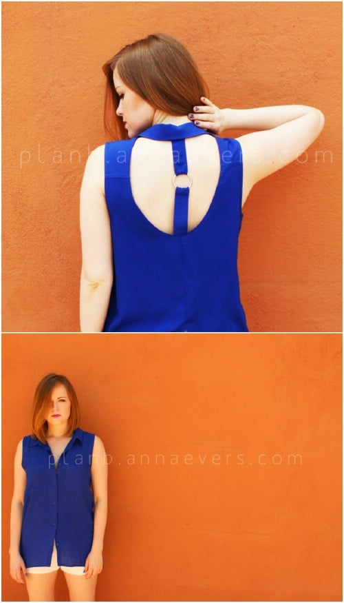 Make a simple but eye-catching open-back shirt.