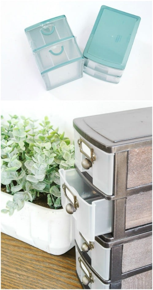 Turn plastic bin drawers into industrial farmhouse drawers.
