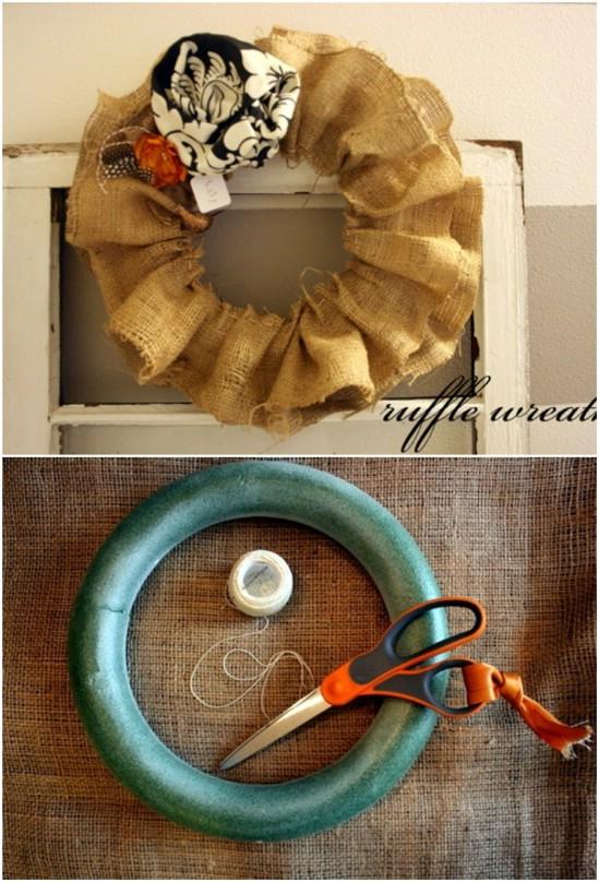 Hand Sewn Burlap Ruffle Wreath