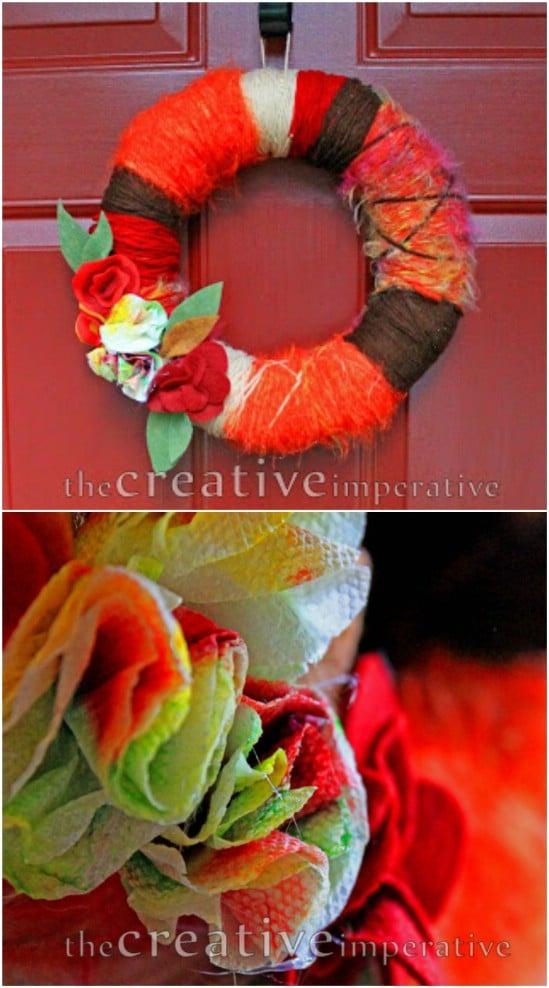 Easy Yarn Wrapped Wreath