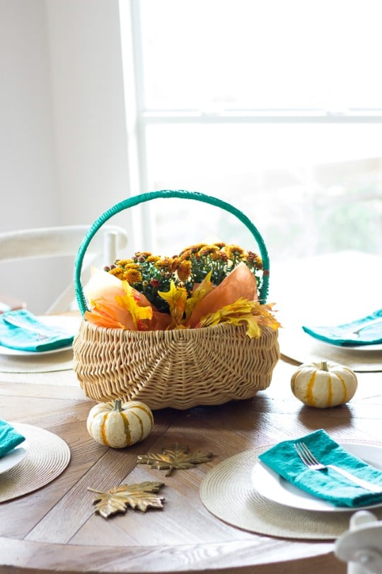 Thrift Store Basket Thanksgiving Centerpiece