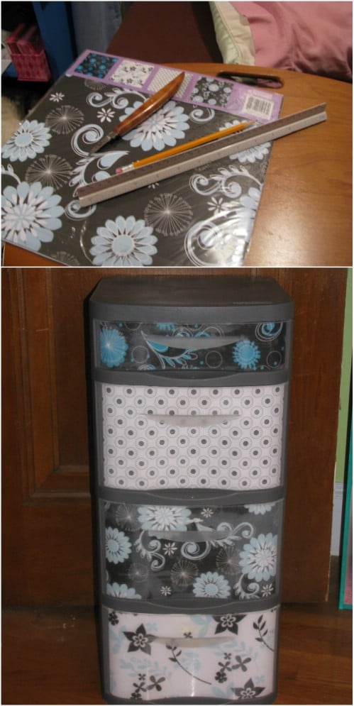 Here is how to give your set of plastic drawers a mini-facelift.