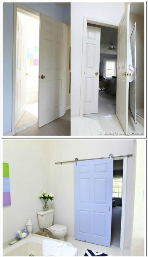 Sliding Door in Baby Blue