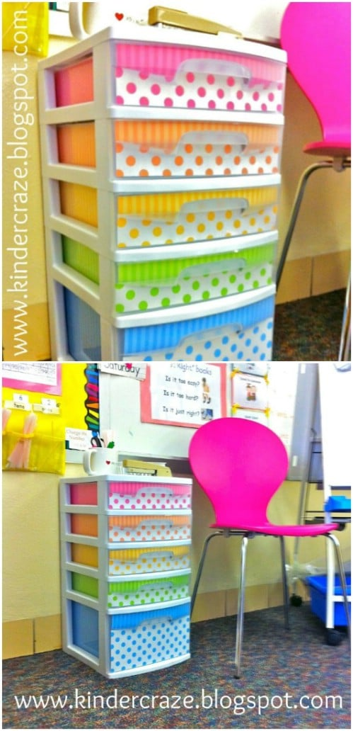Bright rainbow colors add some whimsy to any set of plastic drawers.
