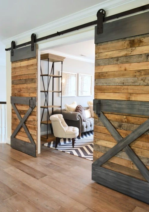 Barn Doors with Faux Steel Trim