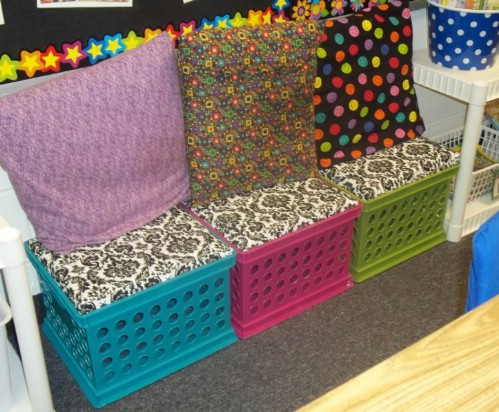 Colorful bins make for colorful seats.
