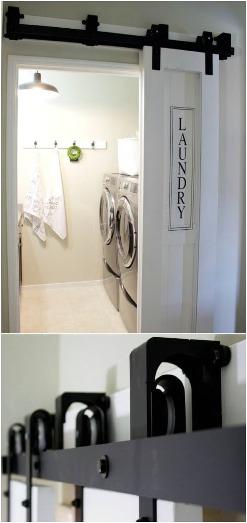 Laundry Room Sliding Barn Door with Adorable Sign