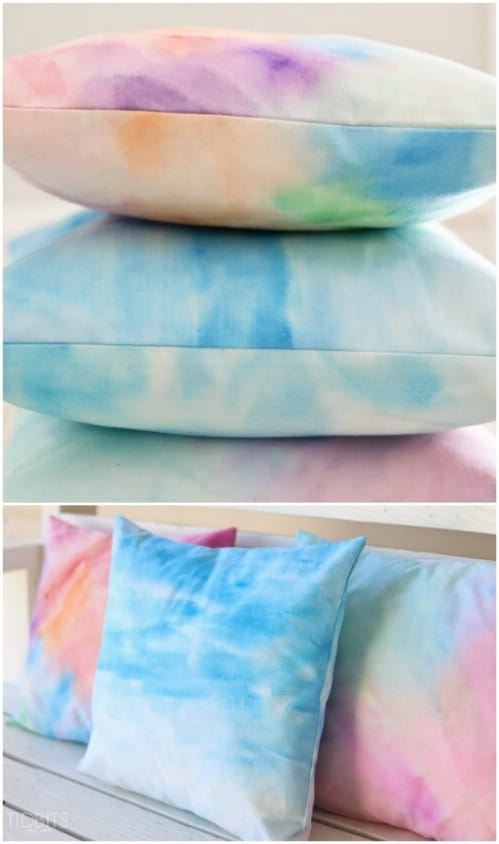 Apply watercolors to fabric to make ombre pillows.