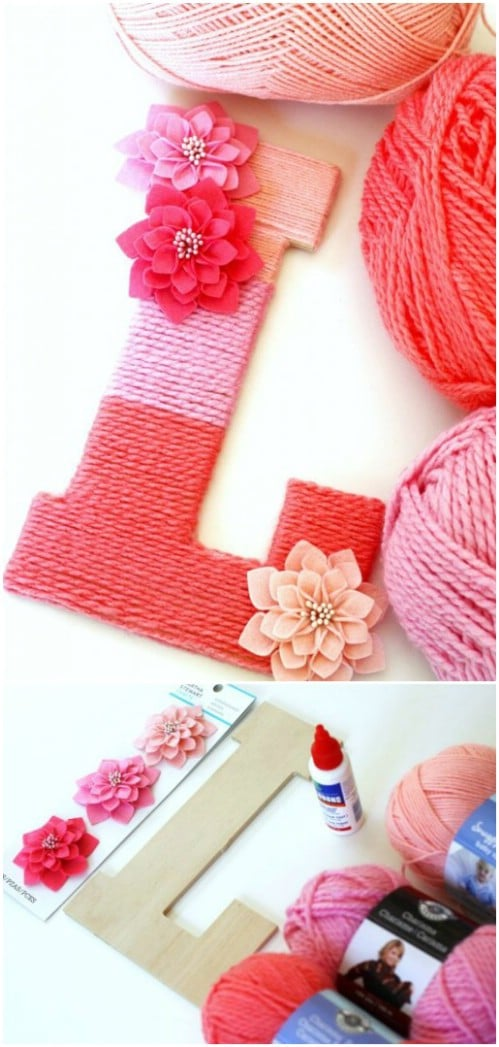 Make a monogrammed letter wrapped in ombre yarn.