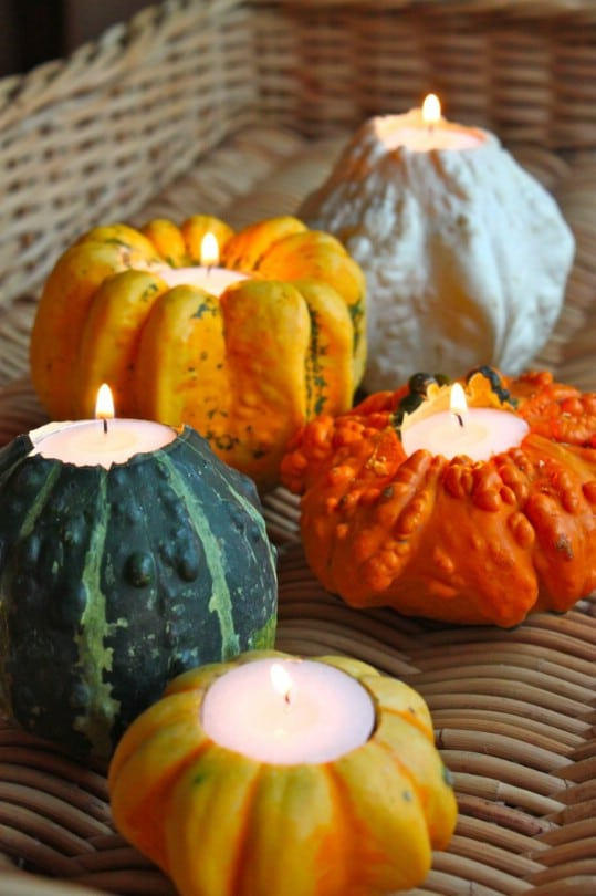 Carved Gourd Candle Holders