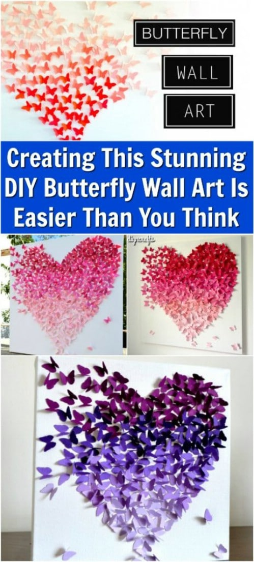 Make lifelike ombre butterfly wall art.