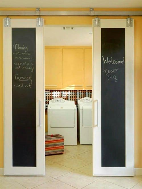 Chalkboard Family Command Center Sliding Barn Doors