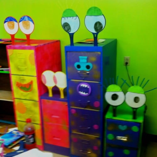 Make a set of bin drawers fun for kids.