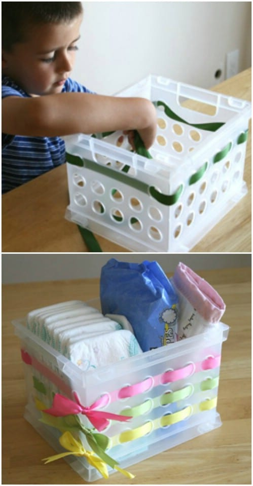 Here is yet another way you can decorate a plastic container by weaving fabric or ribbon.