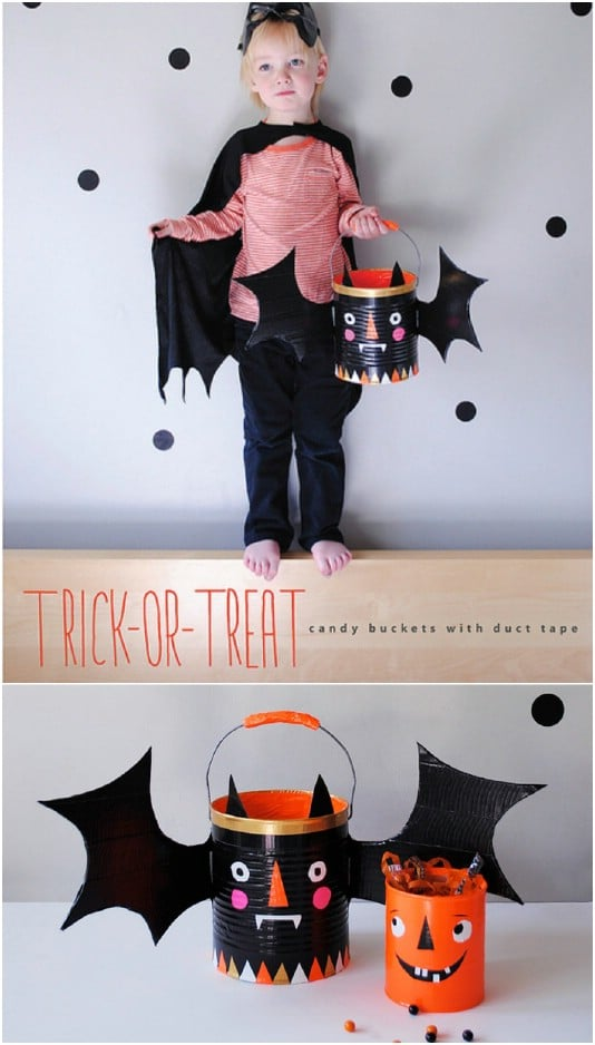 DIY Duct Tape Halloween Buckets