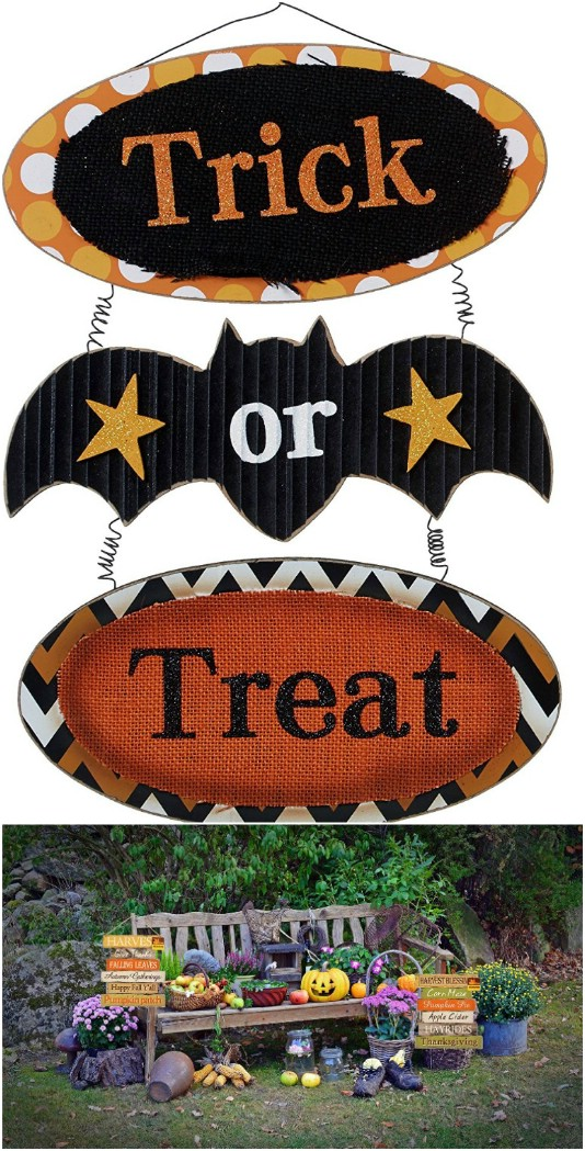 Colorful Wooden Halloween Door Signs - 25 Fantastic Reclaimed Wood Halloween Decorations For Your Home And Garden