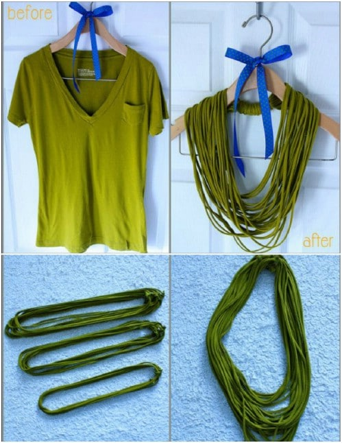 Make a fabulous T-shirt necklace.